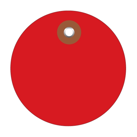 Plastic Circle Tags Red 3  (100 Per/Case) 3  Red Plastic Circle Tags (100 Tags) Waterproof vinyl for wet or damp applications.