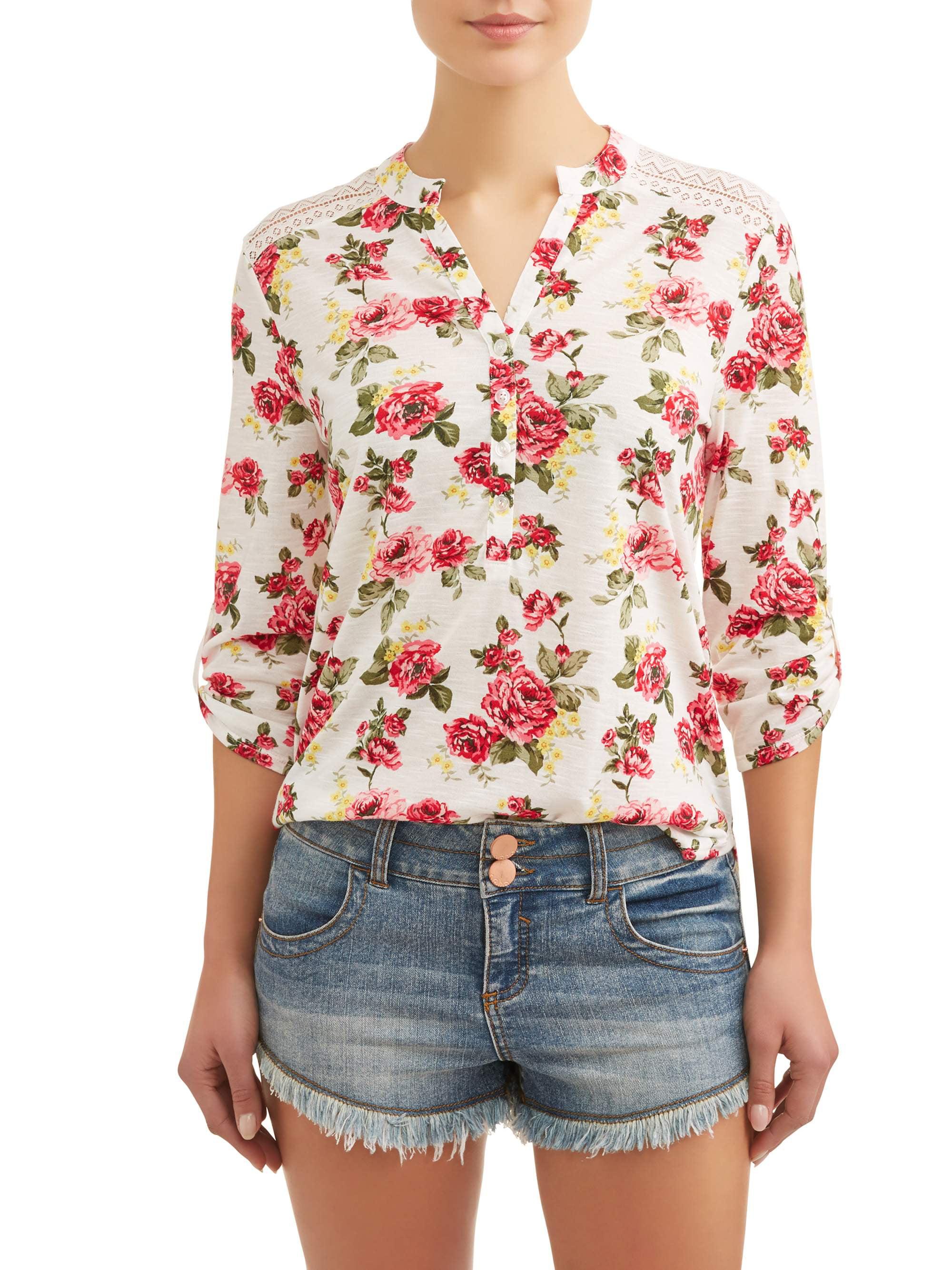 Juniors' Floral Printed Lace Yoke Tunic Blouse