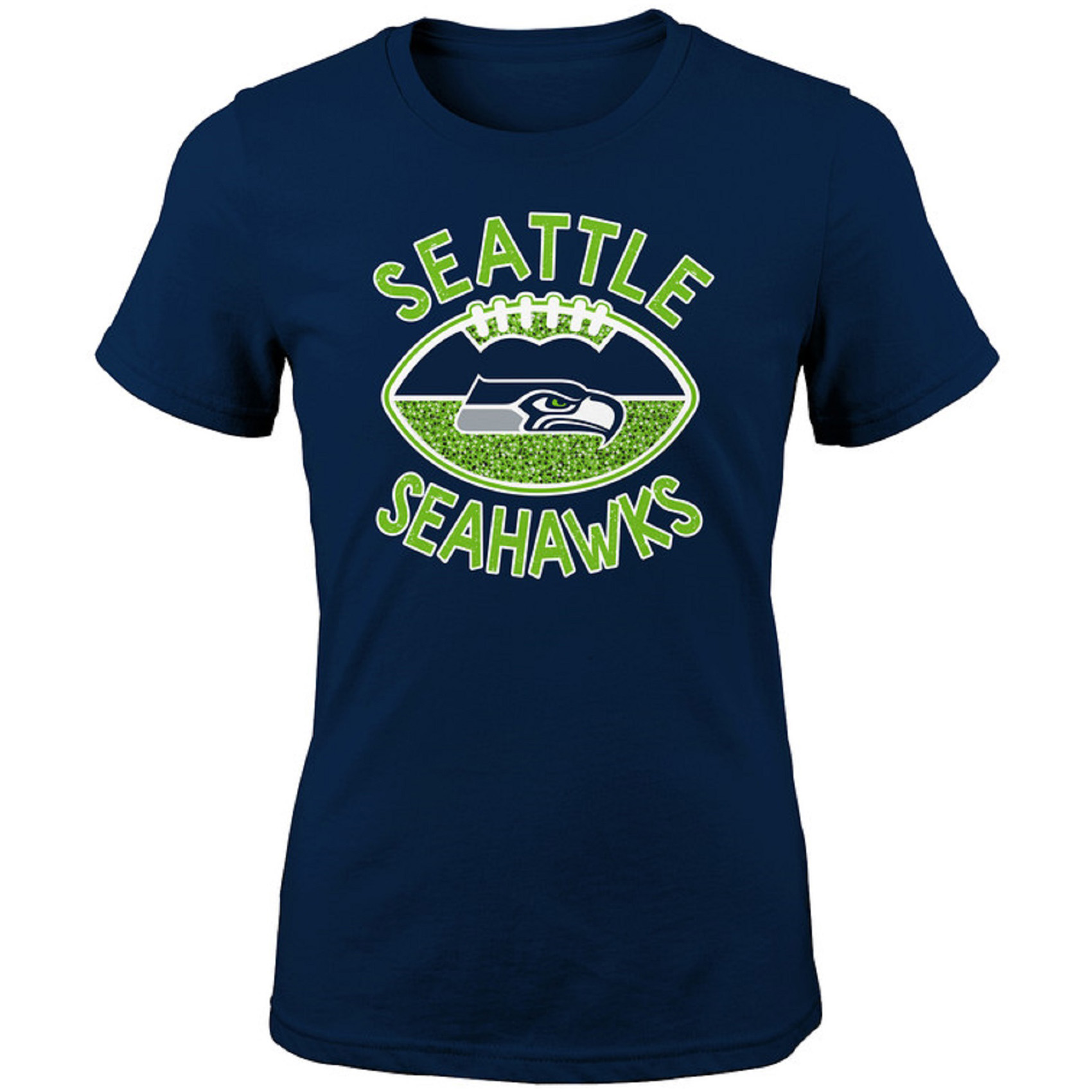 Girls Youth College Navy Seattle Seahawks Glitter T-Shirt
