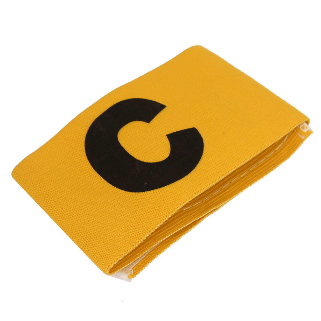 Yellow Elastic Fabric Football Soccer Captain Arm Band with Black Letter C Printed