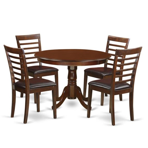 Dining Set - One Round Kitchen Table & Four Chairs with Faux