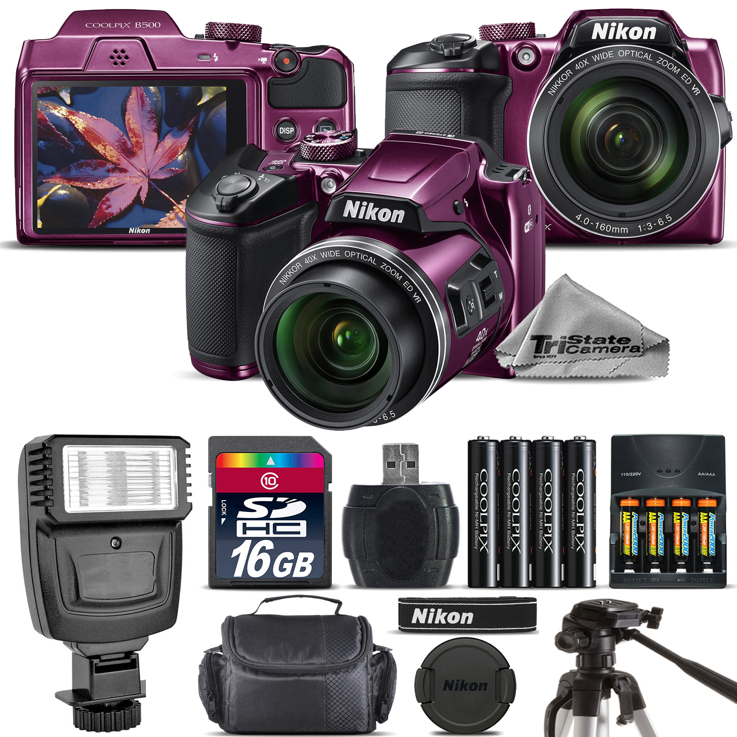 Nikon COOLPIX B500 Camera Plum 40x Zoom + Flash + Tripod + Case -16GB Kit Bundle