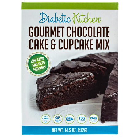 (2 Pack) Diabetic Kitchen Gourmet Chocolate Cake & Cupcake Mix Is Keto-Friendly, Low-Carb, No Sugar Added, Gluten-Free, 15g of Fiber, Non-GMO, No Artificial Sweeteners or Sugar