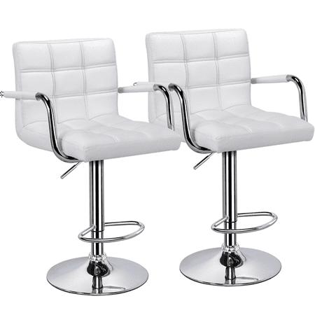 Yaheetech Set of 2 Breakfast Faux Leather Bar Stools Swivel Kitchen Stools  Pub Chair w/ Armrest