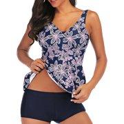 M-XXL Plus Size Women Tankini Set Swim Top+ Shorts Floral Print Two-Piece Swimsuit V-neck Padded Push-up Bra Tummy Control Swimwear Swimming Bathing Suit