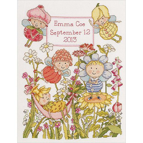 "Bucilla Garden Fairies Birth Record Counted Cross Stitch Kit, 10"" x 13"", 14 Count"