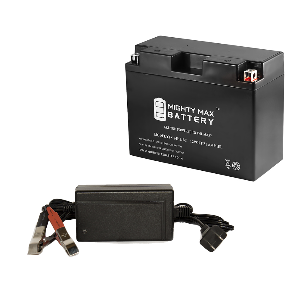 YTX24HL-BS Battery for Kawasaki VN1500-C '96-97 + 12V 4Amp Charger by Mighty Max Battery