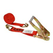 "2"" x 18' Red Ratchet Strap w/ Double J Hook"