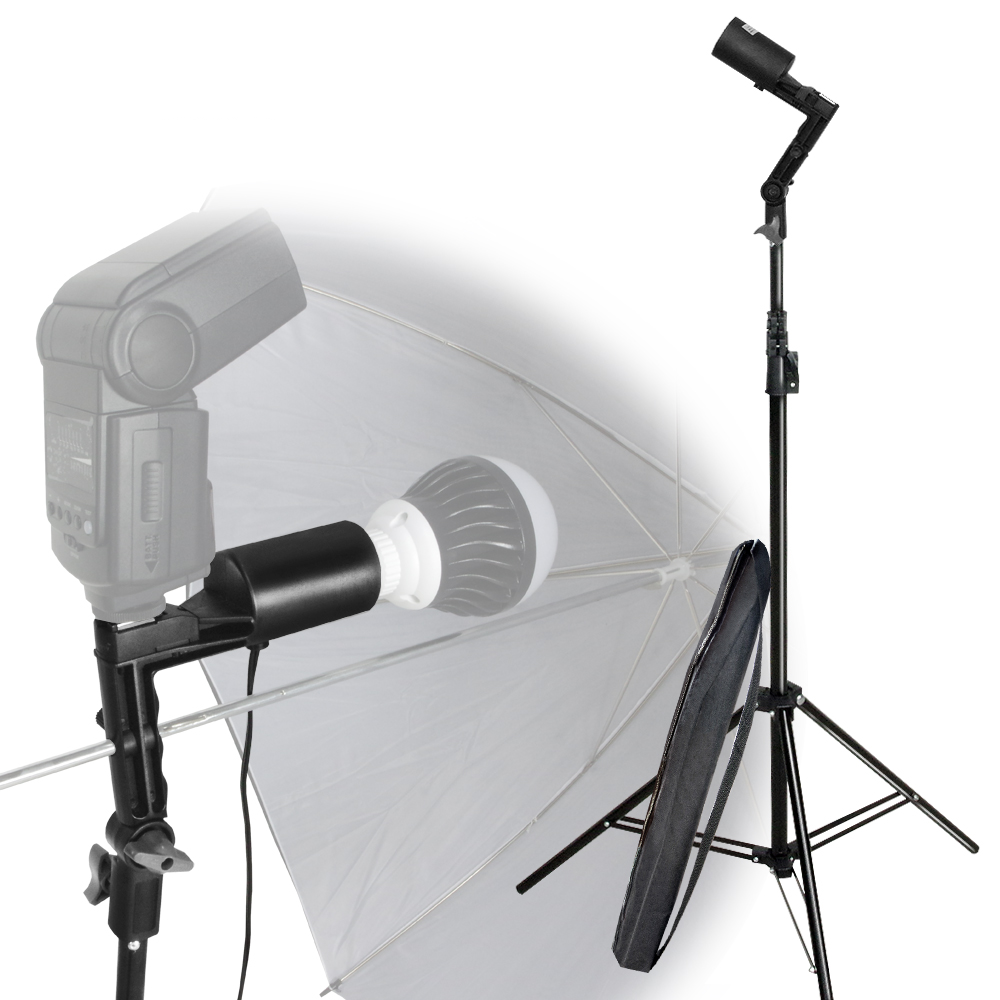 Loadstone Studio Single Head Photo Bulb Socket with Flash Bracket E26 / E27 Standard Base Size, Flash Lock Button, Umbrella Reflector Insert, Light Stand Tripod, Carry Bag, Photo Studio, WMLS4202