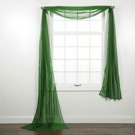 Breeze Window Valance - Decotex Beautiful Elegant Solid Sheer Window Scarf Long Valance Topper (37