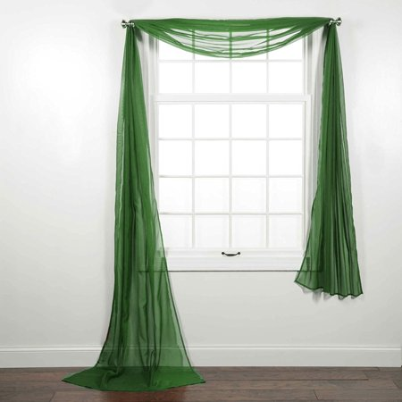 Decotex Beautiful Elegant Solid Sheer Window Scarf Long Valance Topper (37