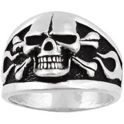 Hellfire Jewelry Sterling Silver Flaming Danger Skull Ring