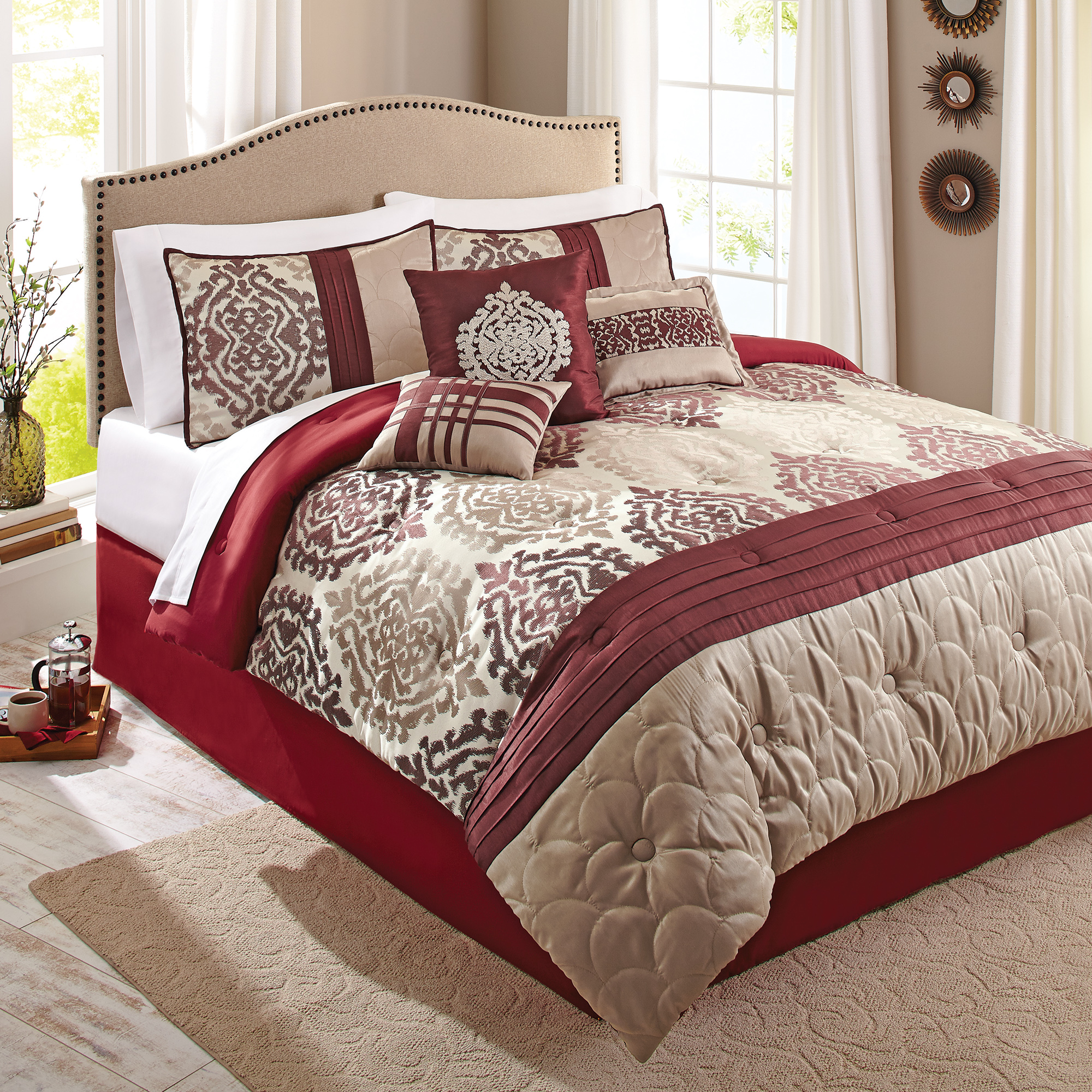 Better Homes and Gardens 7-Piece Bedding Comforter Set, Red Ikat