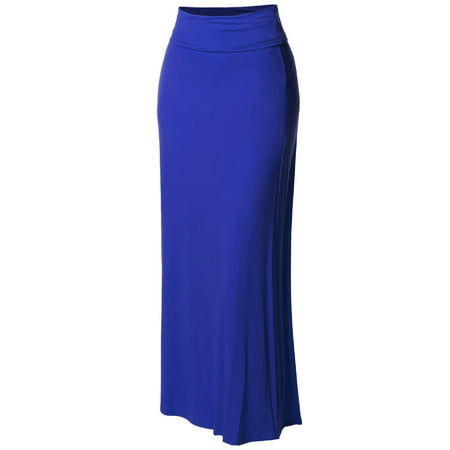 FashionOutfit Women's Stylish Fold Over Flare Long Maxi Skirt