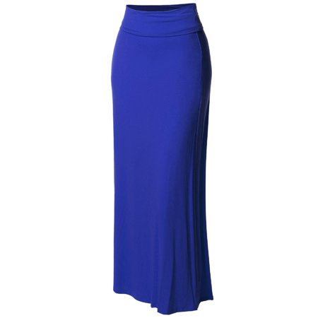 FashionOutfit Women's Stylish Fold Over Flare Long Maxi Skirt - Punk Suit