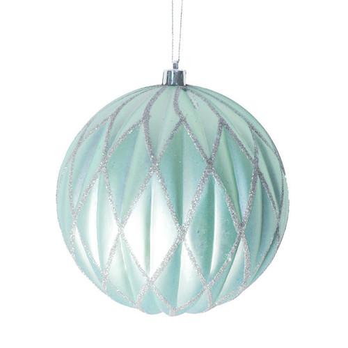 "Baby Blue Glittered Lattice Shatterproof Christmas Ball Ornament 6"" (150mm)"