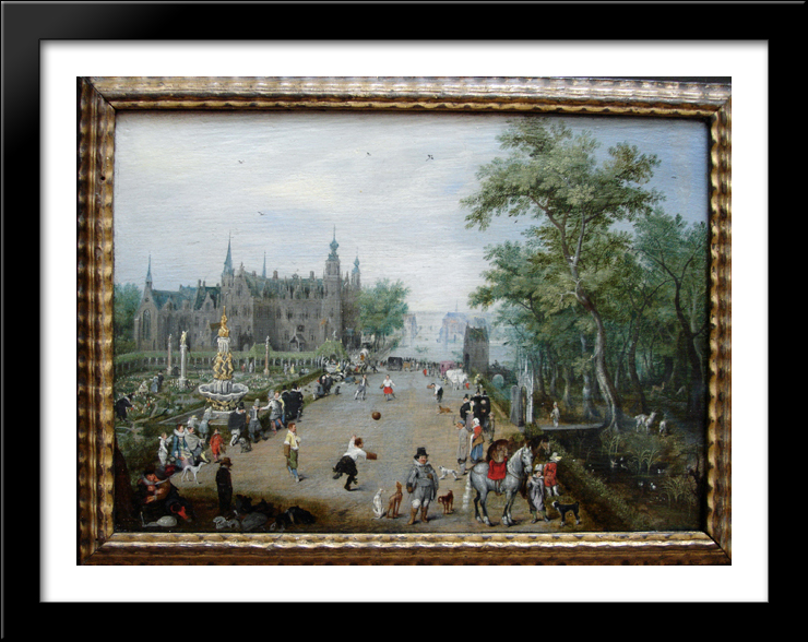 A Game of Handball with Country Palace in Background 36x28 Large Black Wood Framed Print Art by Adriaen van de... by FrameToWall