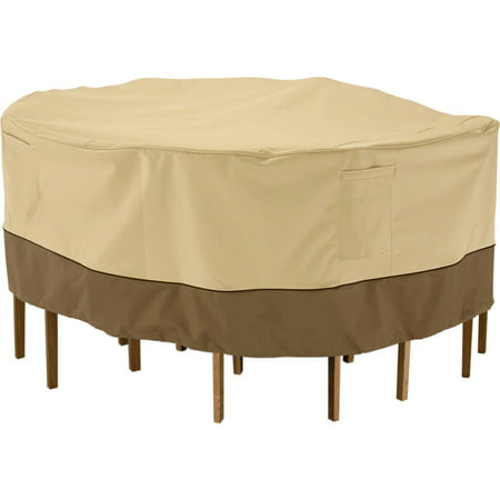 Patio Table Chair Covers - Classic Accessories Veranda Round Patio Table and Chair set Cover