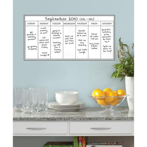 Whiteboard Dry Erase Weekly Calendar Decal