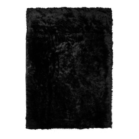 Ailis Faux Sheepskin Fur Area Rug Black Rectangular