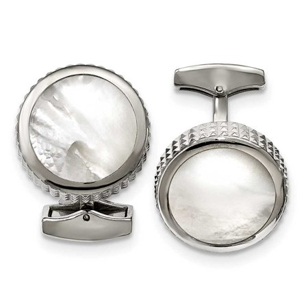 - Stainless Steel Polished Studded Round Mother of Pearl Cuff Links