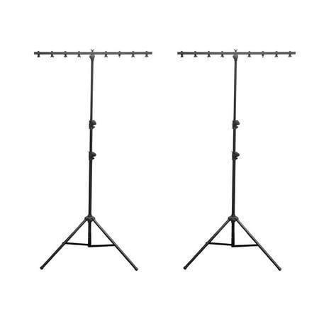 2) Chauvet DJ CH-06 Portable Lightweight Easy Setup T Bar Tripod Light Stands