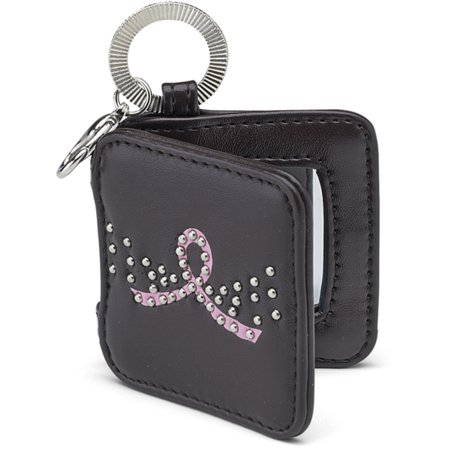 Pavilion- Black Mini Mirror Leather Pink Ribbon Breast Cancer Key chain with Gems