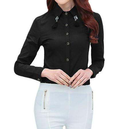 Women 39 s long sleeves button up shirt w tassel collar for Women s collared button up shirts