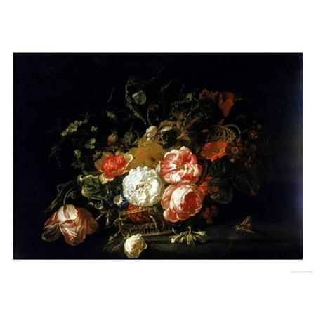 Uffizi Gallery - Basket of Flowers, Uffizi Gallery, Florence Print Wall Art By Rachel Ruysch