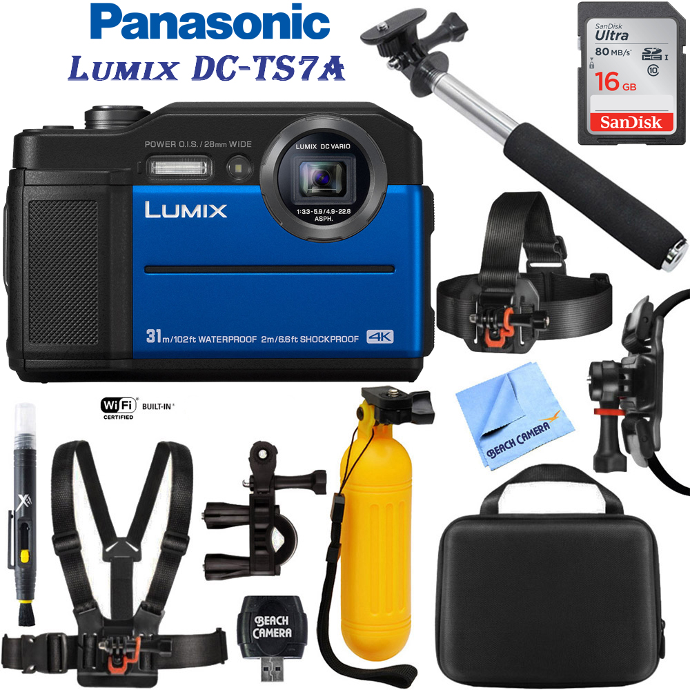 Panasonic Lumix DC-TS7A Waterproof Tough Digital Camera (Blue) with 16GB Memory Card, Cleaning Kit, BLTCHM1 Clip Head Mount Kit, Yellow Floating Bobber Handle & More