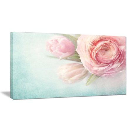 Design Art 'Pink Flowers against Blue Background' Photographic Print on Wrapped Canvas Nantucket Pink Print