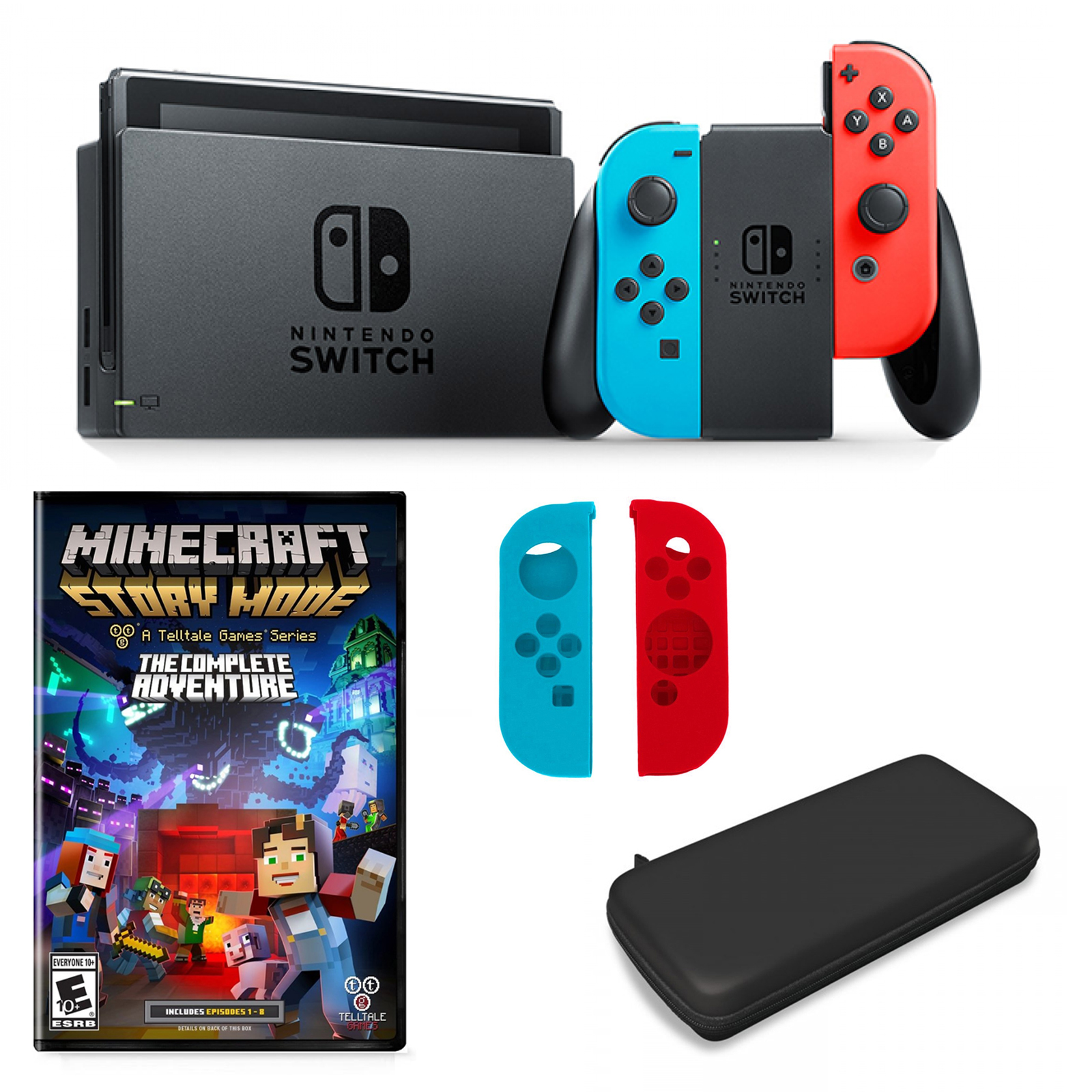 Nintendo Switch in Neon with Minecraft Adventure Game and Accessories