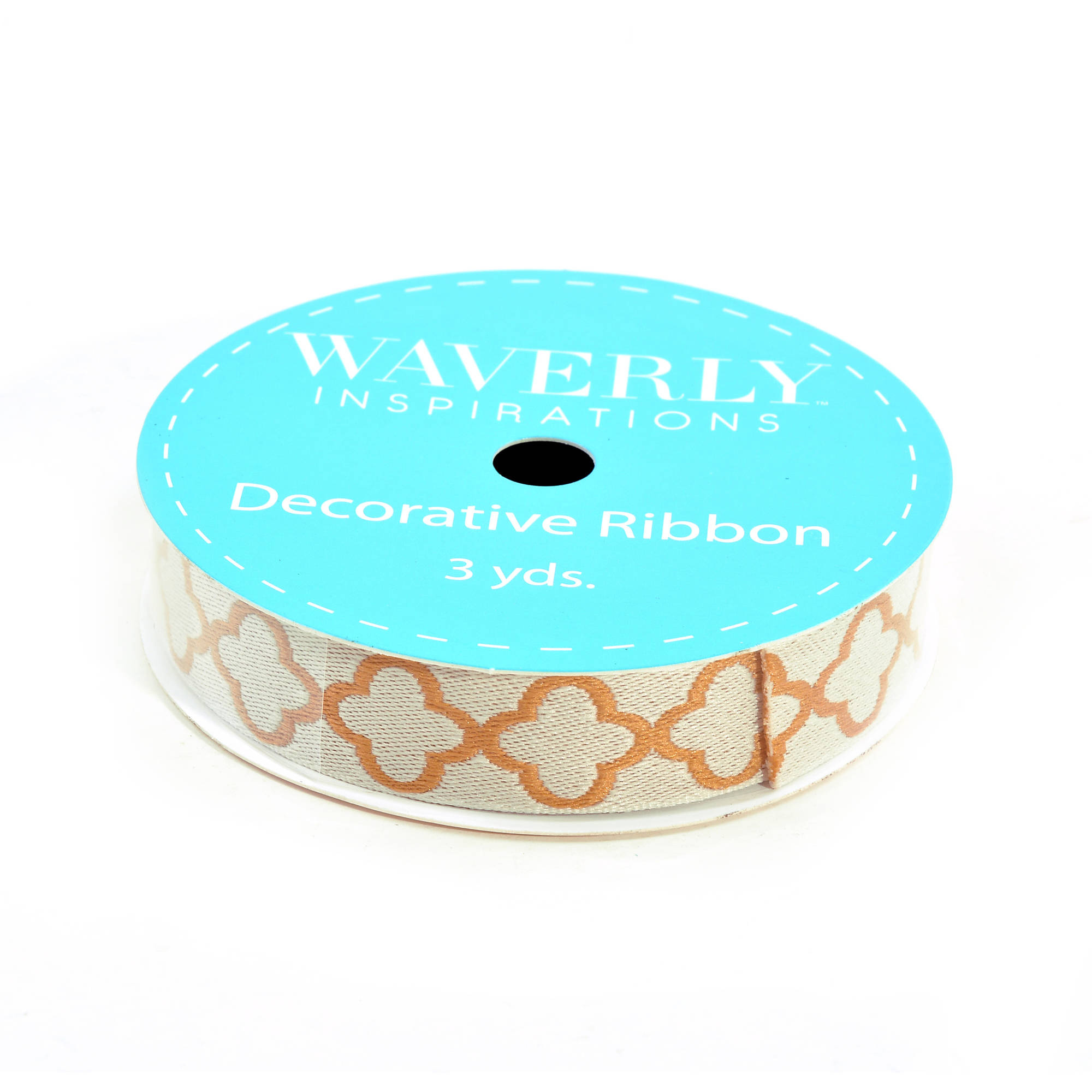 "Waverly Ribbon Quatrefoil Embroidered Ribbon, 5/8"" x 3 Yards, Gold"