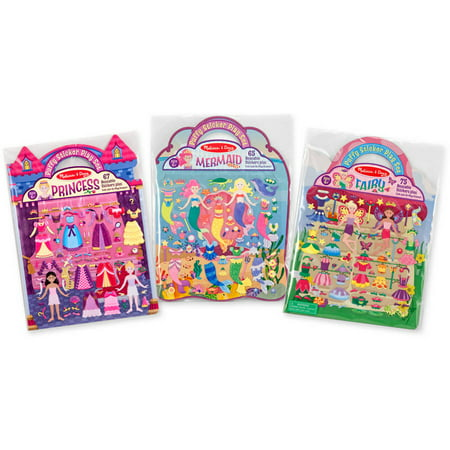 Melissa & Doug Puffy Sticker Activity Books Set: Princess, Mermaid, Fairy - 180+ Reusable Stickers