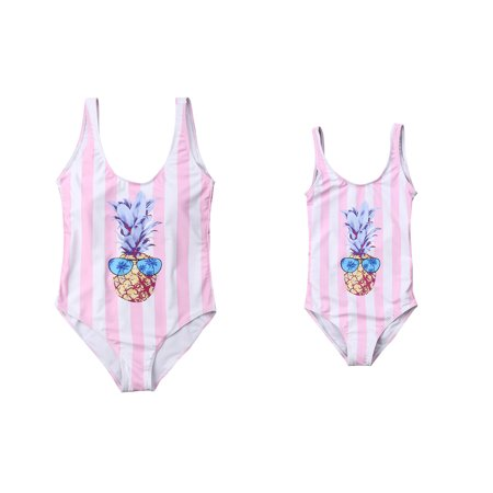 c3f7f24ceb CHRONSTYLE - Mother Daughter Family Matching One Piece Swimsuit Pineapple  Backless Bathing Suit Swimwear Monokini - Walmart.com