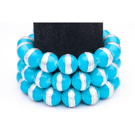 Blue Silver Foiled Glass Pearls 14mm Round Sold per pkg of 32Inch