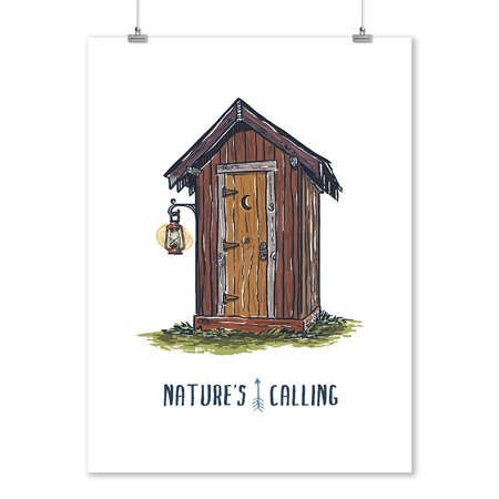 Outhouse - Nature's Calling - Catch Phrases - Lantern Press Artwork (9x12 Art Print, Wall Decor Travel