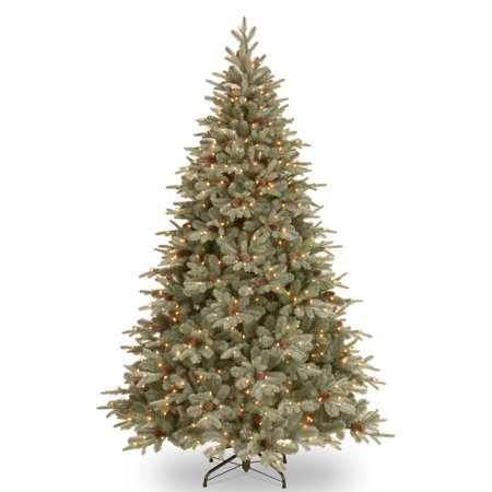 National Tree Pre-Lit 7-1/2' Feel-Real Frosted Arctic Spruce Hinged Artificial Christmas Tree with Cones and 750 Clear Lights