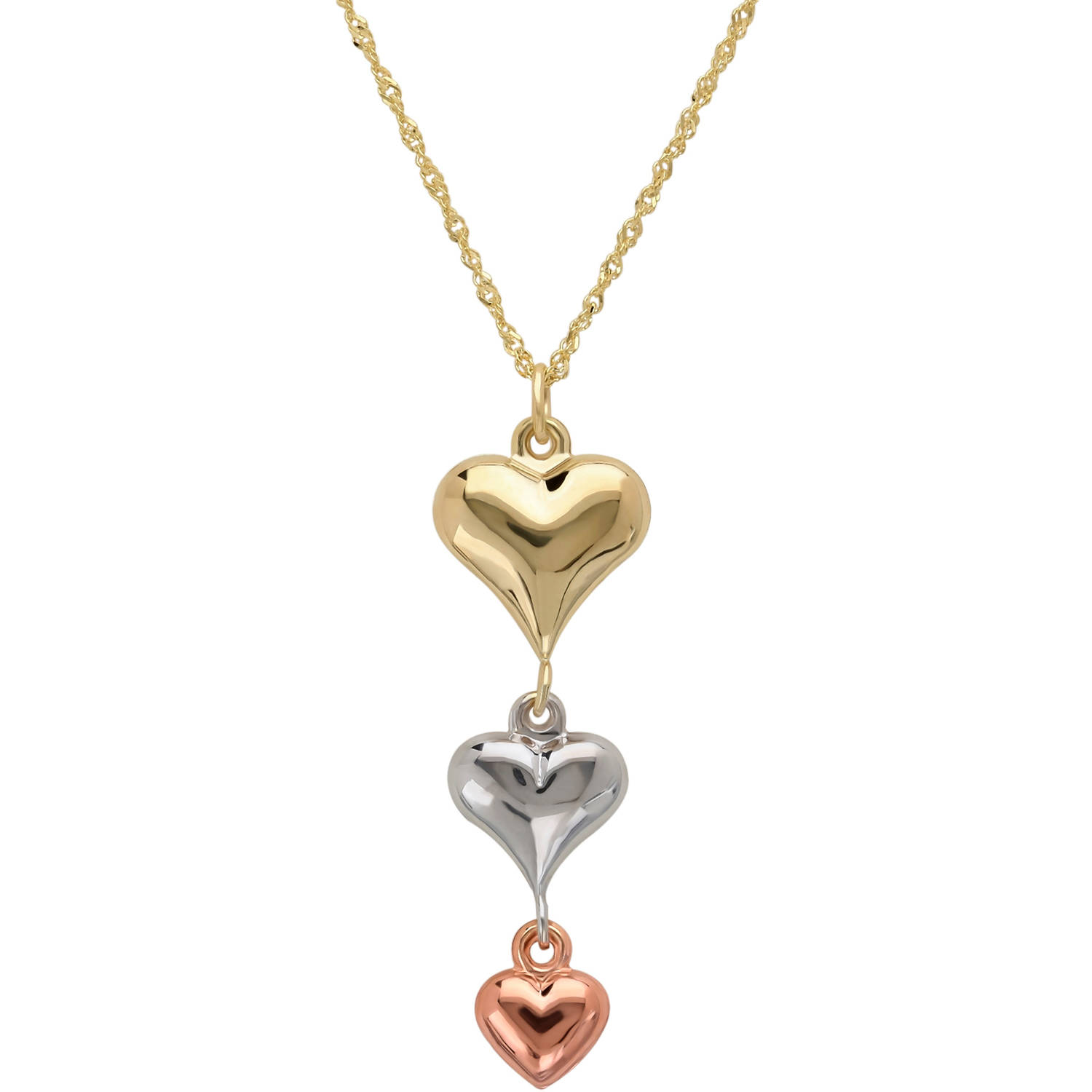 Simply Gold Puffed Heart 10kt Yellow, White and Pink Gold Necklace, 18