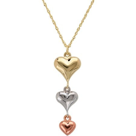 Simply Gold Puffed Heart 10Kt Yellow  White And Pink Gold Necklace  18