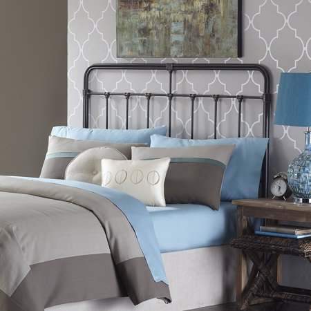 Silver Metal Castings (Fairfield Metal Headboard Panel with Spindles and Intricate Castings, Dark Roast Finish, King)
