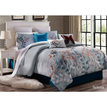 Unique Home 7 Piece Selena Ruffled Bed In A Bag Clearance bedding Comforter Duvet Set Fade Resistant, Super Soft, Size:Queen Color: Light Blue, Orange, Red, White