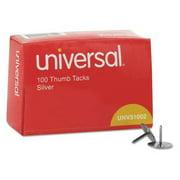 "UNIVERSAL UNV51002 Thumb Tacks,Steel,Head 3/8"" dia.,PK100"