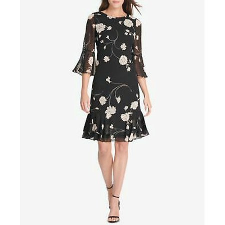 JESSICA HOWARD Womens Black Floral Printed Bell Sleeve Dress (Jessica Howard Floral Print Dress With Shrug)