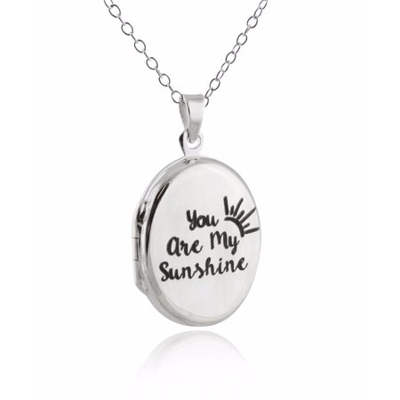 Sterling Silver Oval Engraved You Are My Sunshine Double Sided Locket Necklace, 18