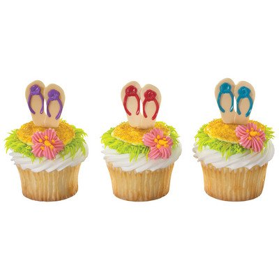 Summer Flip Flops -24pk Cupcake / Desert / Food Decoration Topper Picks with Favor Stickers & Sparkle Flakes