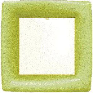 Caspari Entertaining Grosgrain Border Square Dinner Plates, Green, 8-Pack