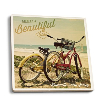 - Lavallette, New Jersey - Life is a Beautiful Ride - Beach Cruisers - Lantern Press Photography (Set of 4 Ceramic Coasters - Cork-backed, Absorbent)