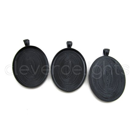 5 Pack - CleverDelights Oval Pendant Trays - Dark Black Color - 30x40mm