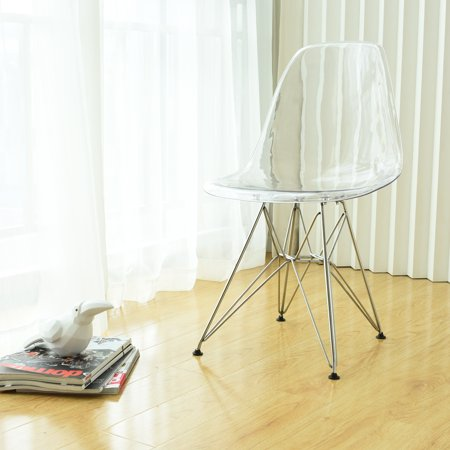 Paris Tower Acrylic Clear Dining Side Chair with Chrome Legs- Set of 2